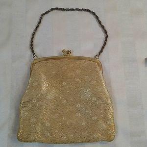 Vintage 1950s Gold Lame Clasp Purse